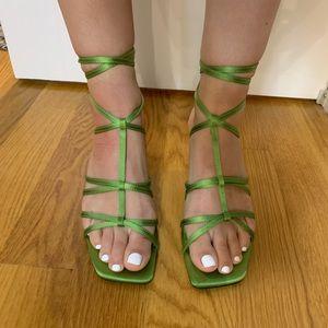 Zara Green Strappy Sandals